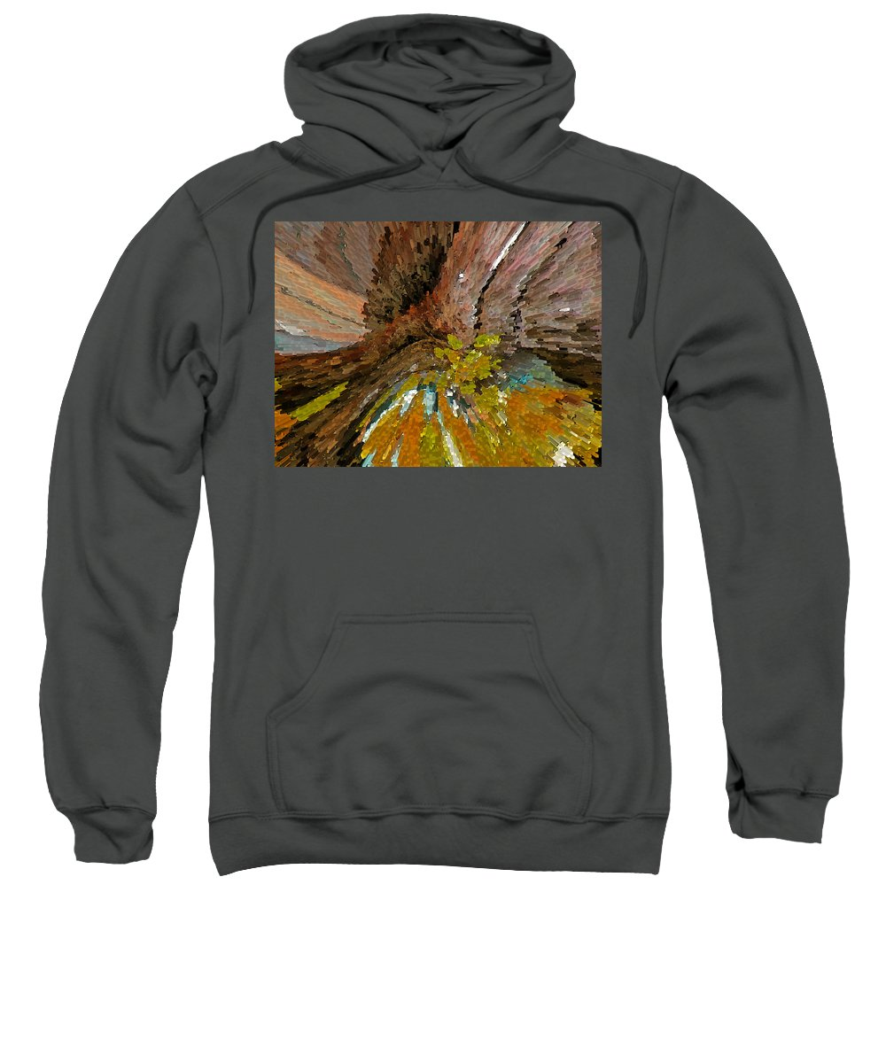 Abstract Sweatshirt featuring the digital art Sunset On The Hillside by Lenore Senior