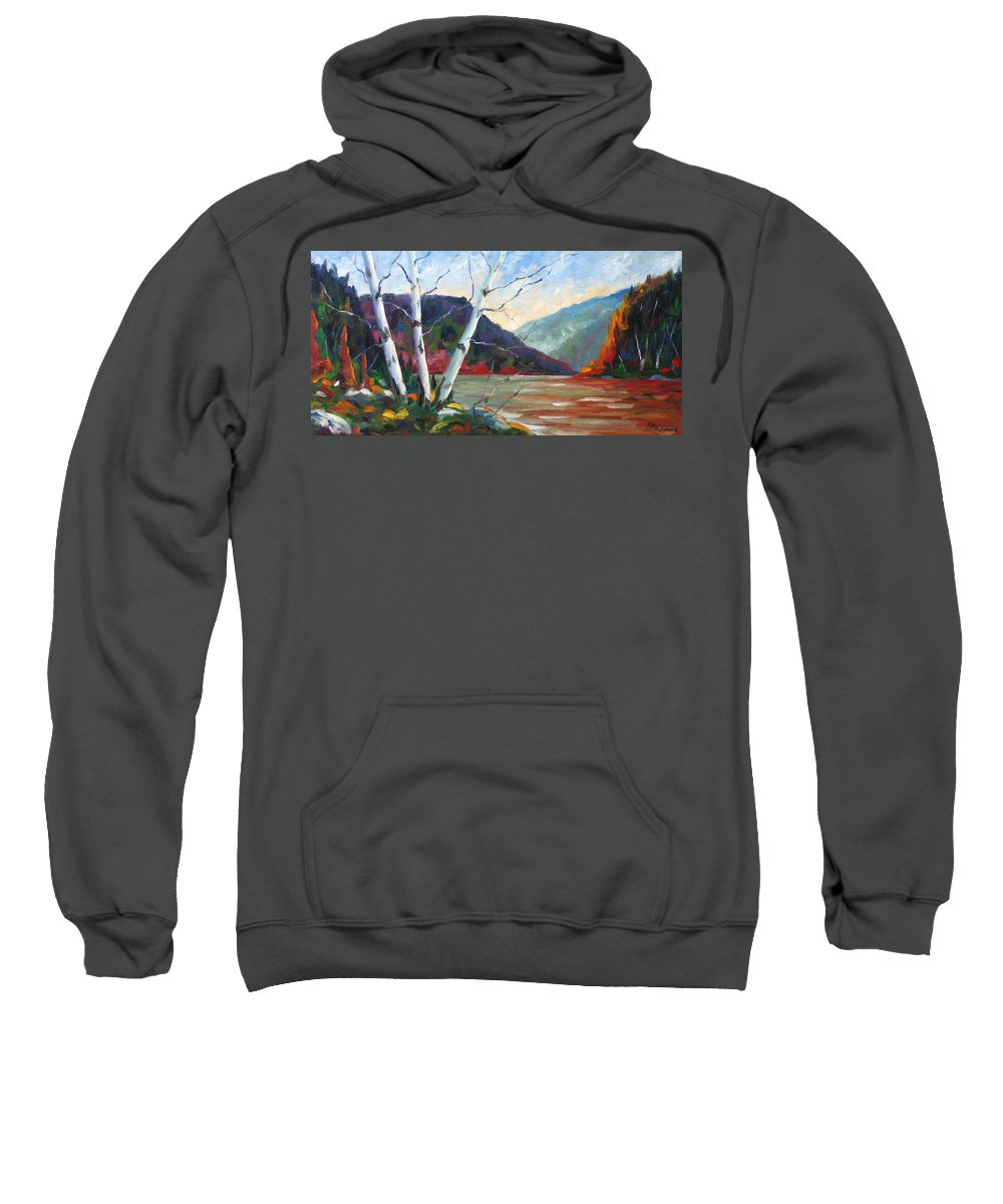 Landscape; Landscapes/scenic; Birches;sun;lake;pranke Sweatshirt featuring the painting Sunset On The Lake by Richard T Pranke