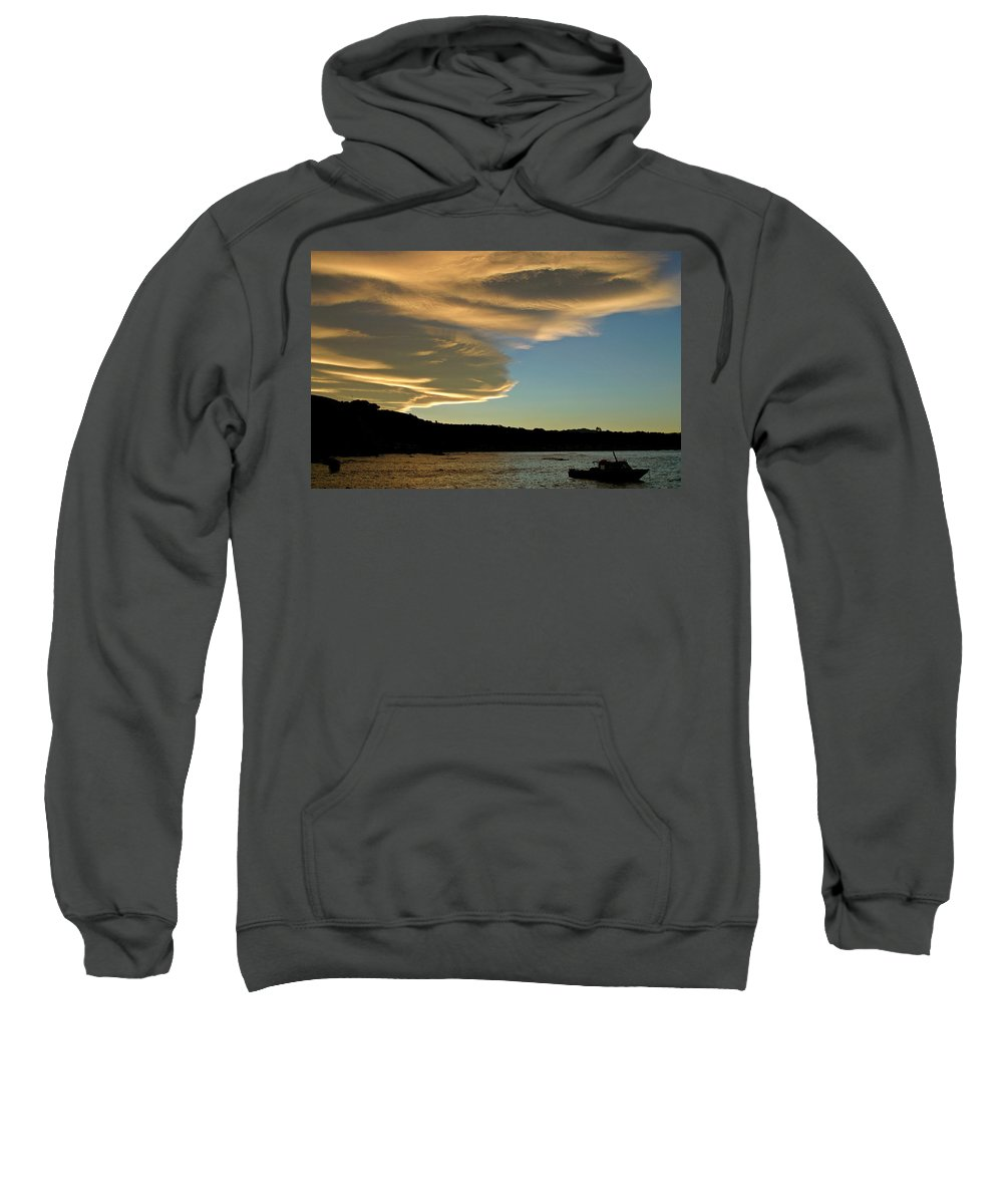 Fishing Boat Sweatshirt featuring the digital art Sunset Over South Island Of New Zealand by Mark Duffy