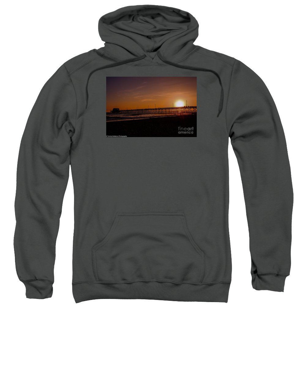 Newport Beach Sweatshirt featuring the photograph Sunset Over The Newport Beach Pier by Tommy Anderson