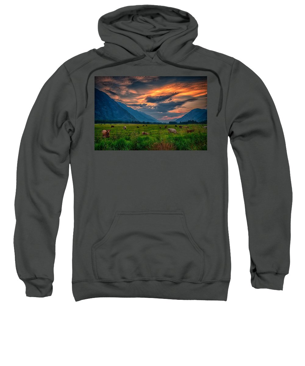 Sunset Sweatshirt featuring the photograph Sunset Over The Pasture by Dave Steers