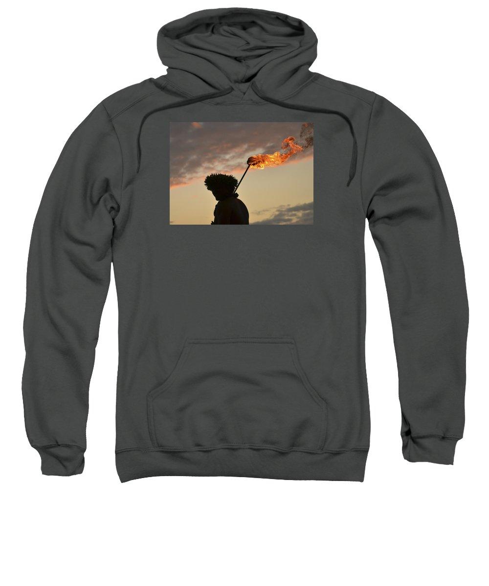 Torch Sweatshirt featuring the photograph Sunset Ritual by Karen Rose Warner
