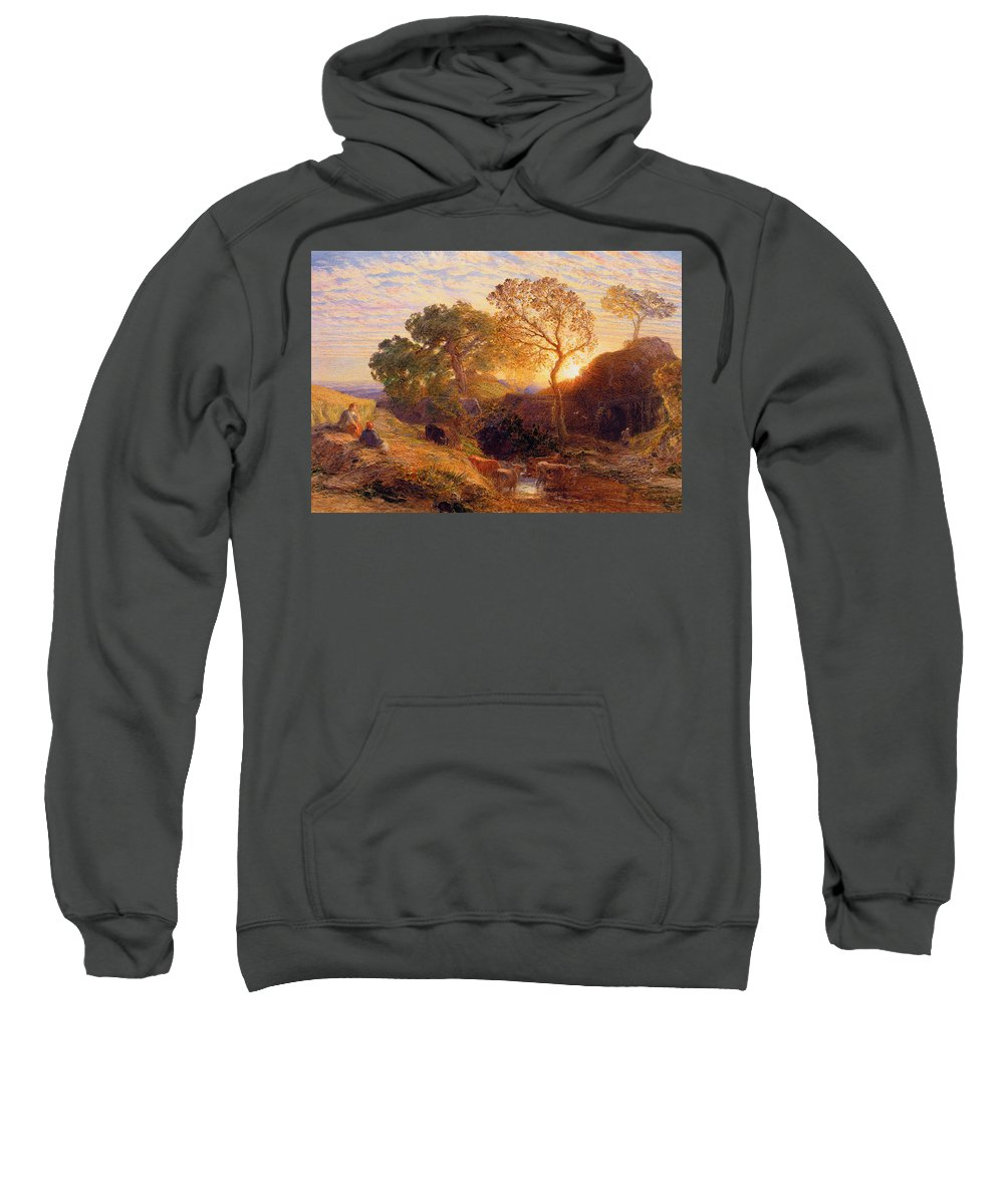 Sunset Sweatshirt featuring the painting Sunset by Samuel Palmer