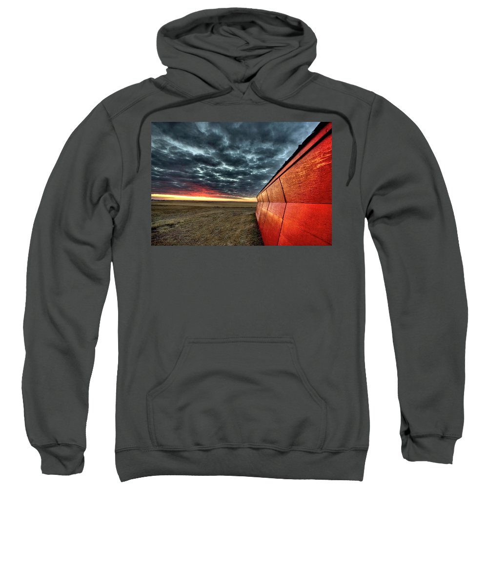 Sunset Sweatshirt featuring the digital art Sunset Saskatchewan Canada by Mark Duffy