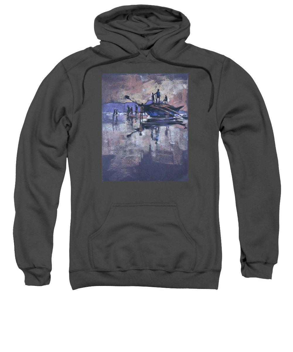Beach Sweatshirt featuring the painting Sunset by Snehal Page