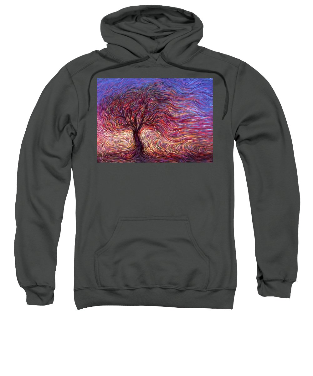 Tree Sweatshirt featuring the painting Sunset Tree by Hans Droog