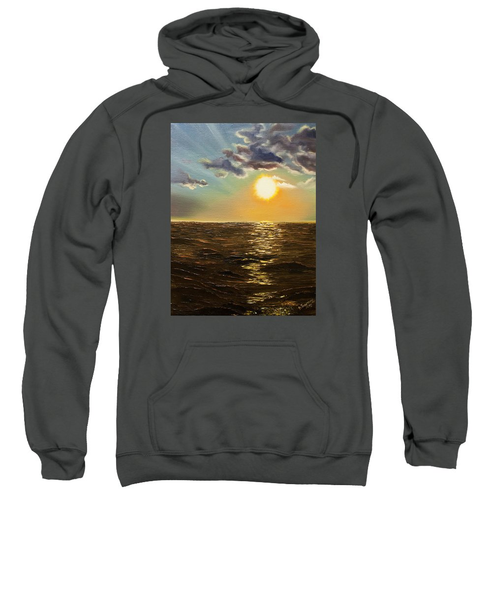 Romantic Sweatshirt featuring the painting Sunset by Valentyna Pylypenko