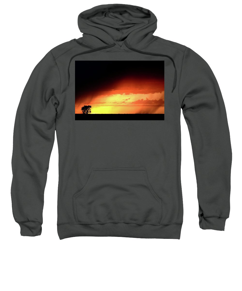 Sunset Sweatshirt featuring the digital art Sunset With Rain In Scenic Saskatchewan by Mark Duffy
