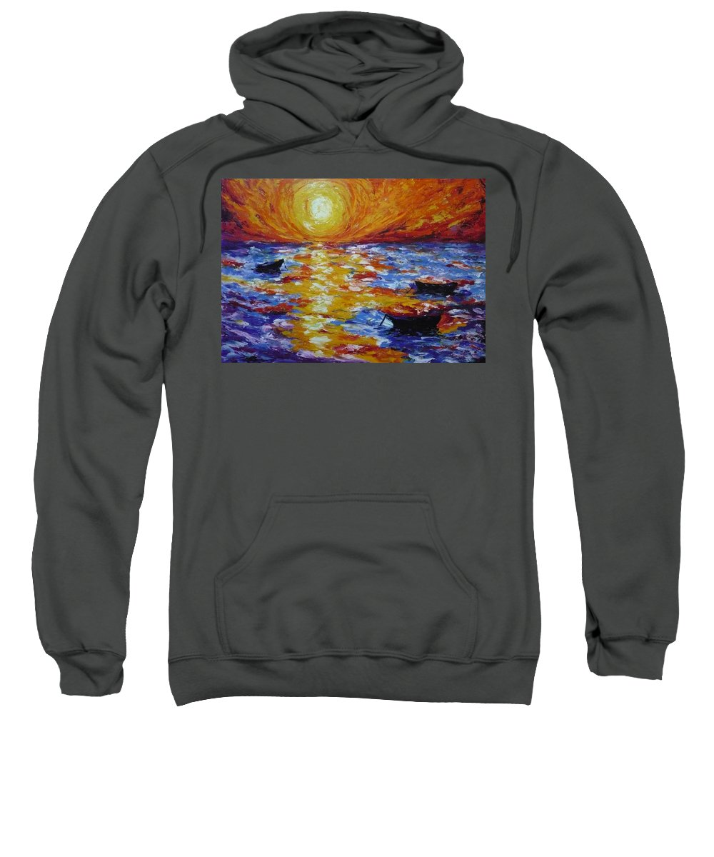 Landscape Sweatshirt featuring the painting Sunset With Three Boats by Ericka Herazo