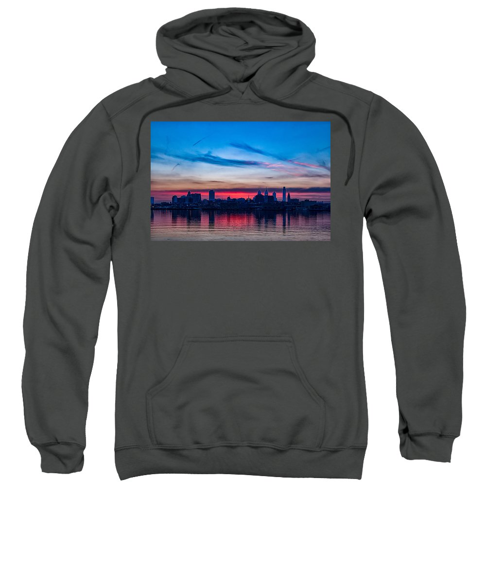 Philly Sweatshirt featuring the photograph Sunsets Over Philly by Carol Ward