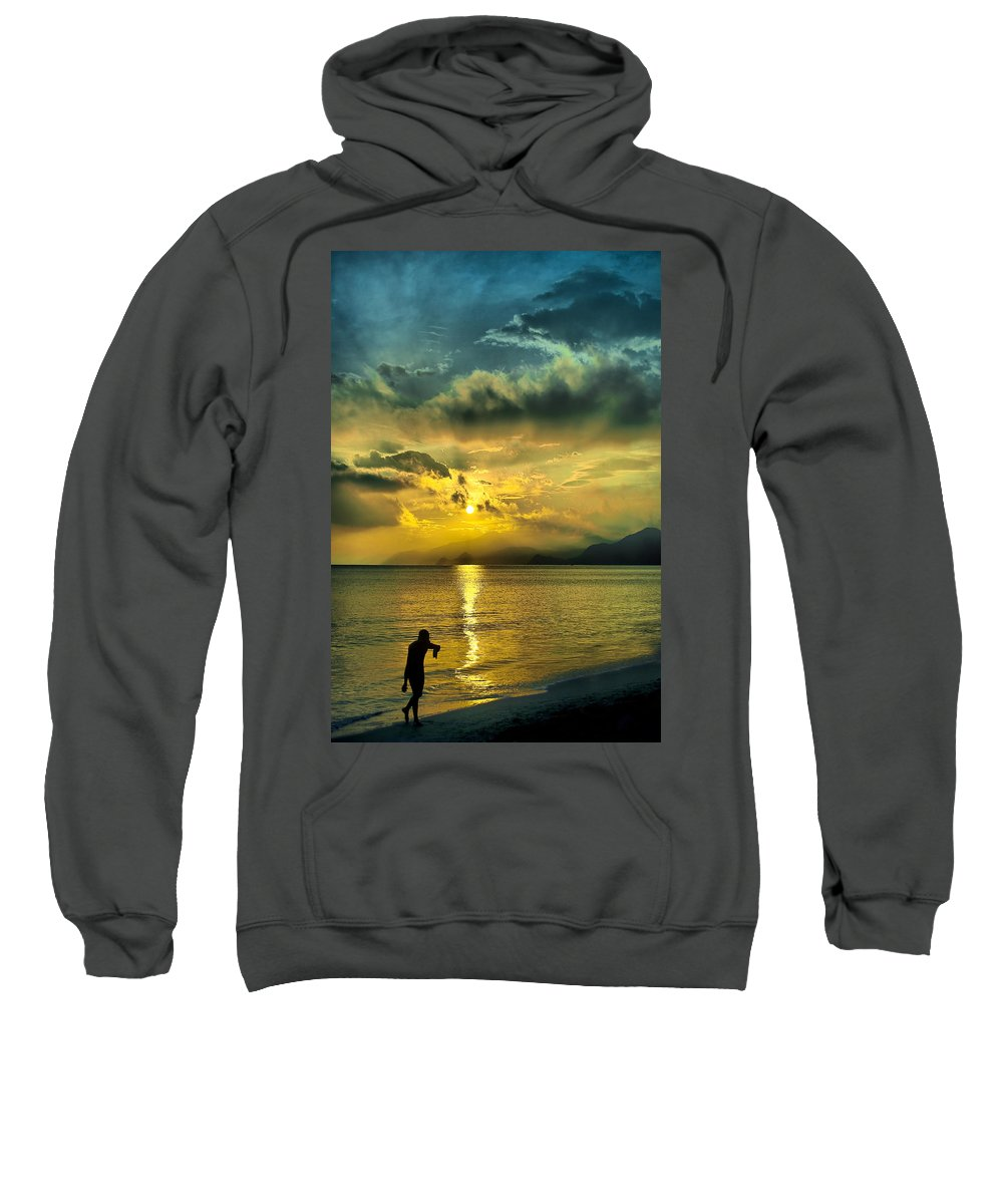 Sunshine Sweatshirt featuring the photograph sunshine at Puerto Cabello by Galeria Trompiz
