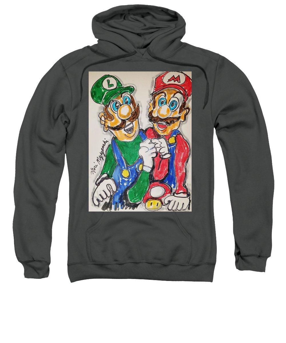 Nintendo Sweatshirt featuring the painting Super Mario Brothers by Geraldine Myszenski