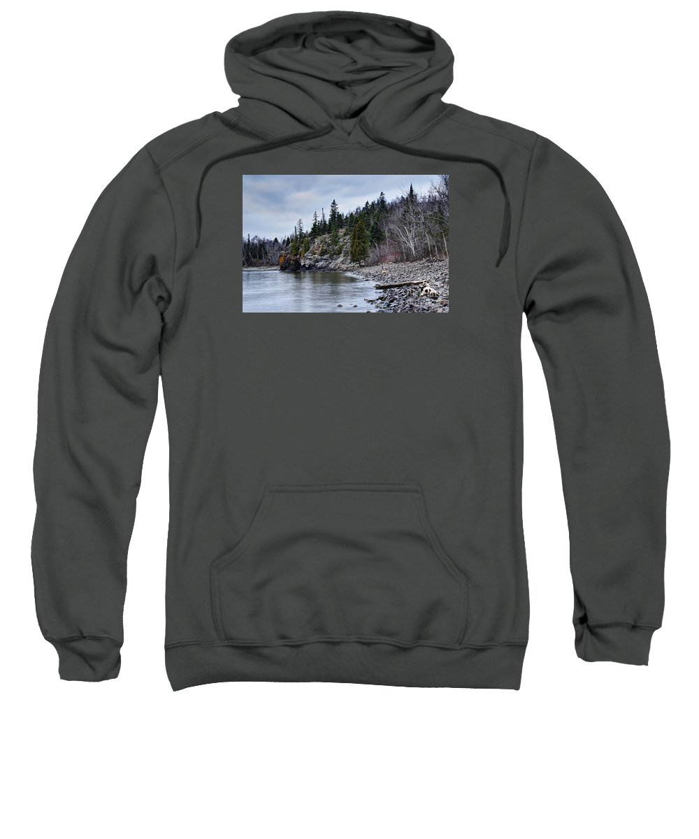 Photography Sweatshirt featuring the photograph Superior Cliffs by Larry Ricker
