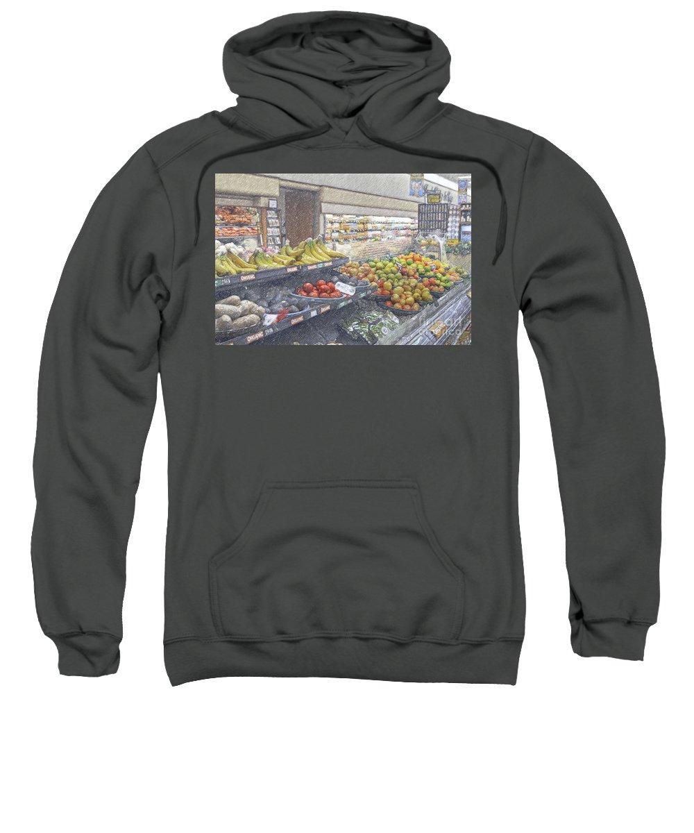 Supermarket Produce Section Sweatshirt featuring the photograph Supermarket Produce Section by David Zanzinger