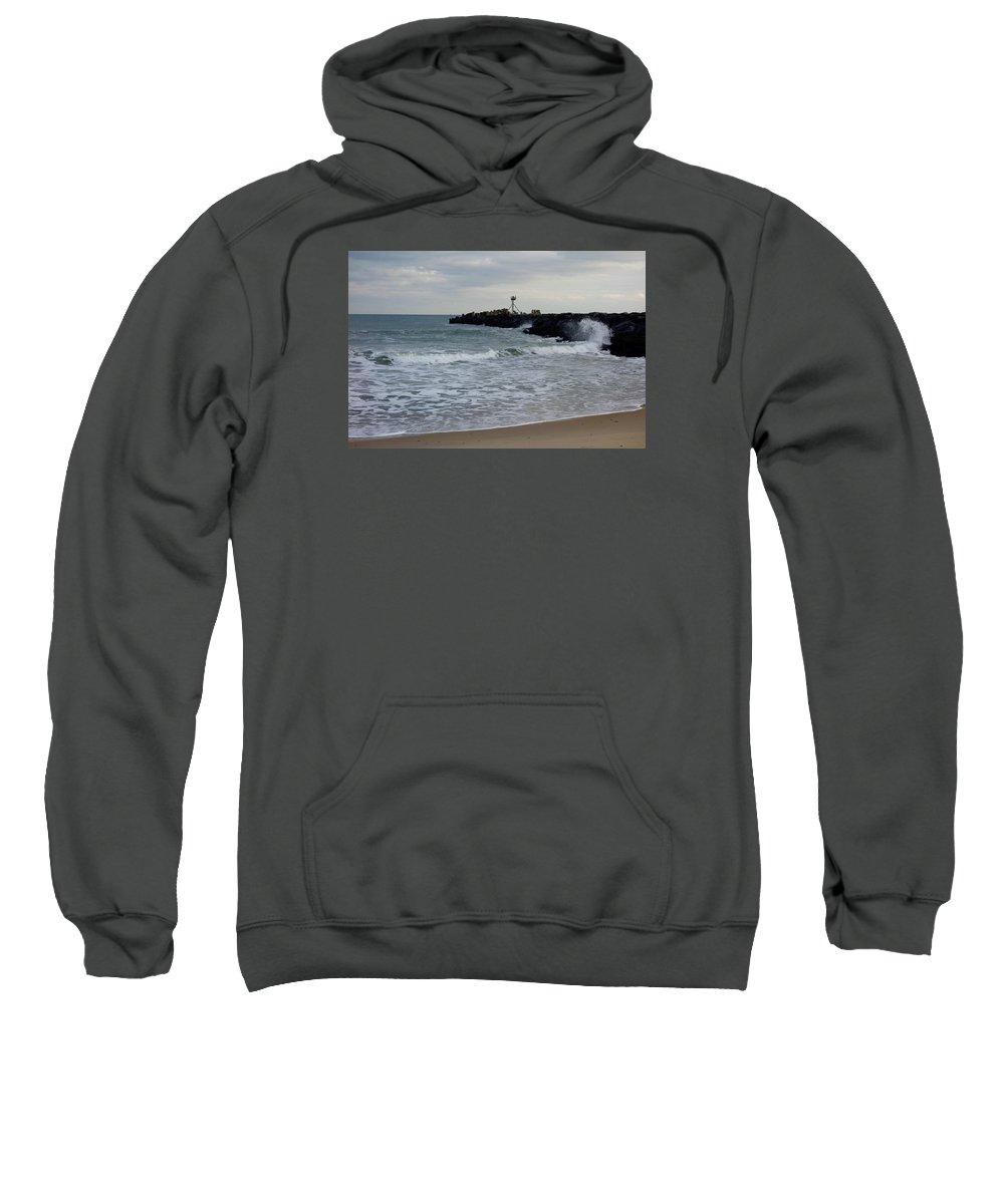 Surf Beaches Sweatshirt featuring the photograph Surf Beach At Manasquan Inlet by Melinda Saminski
