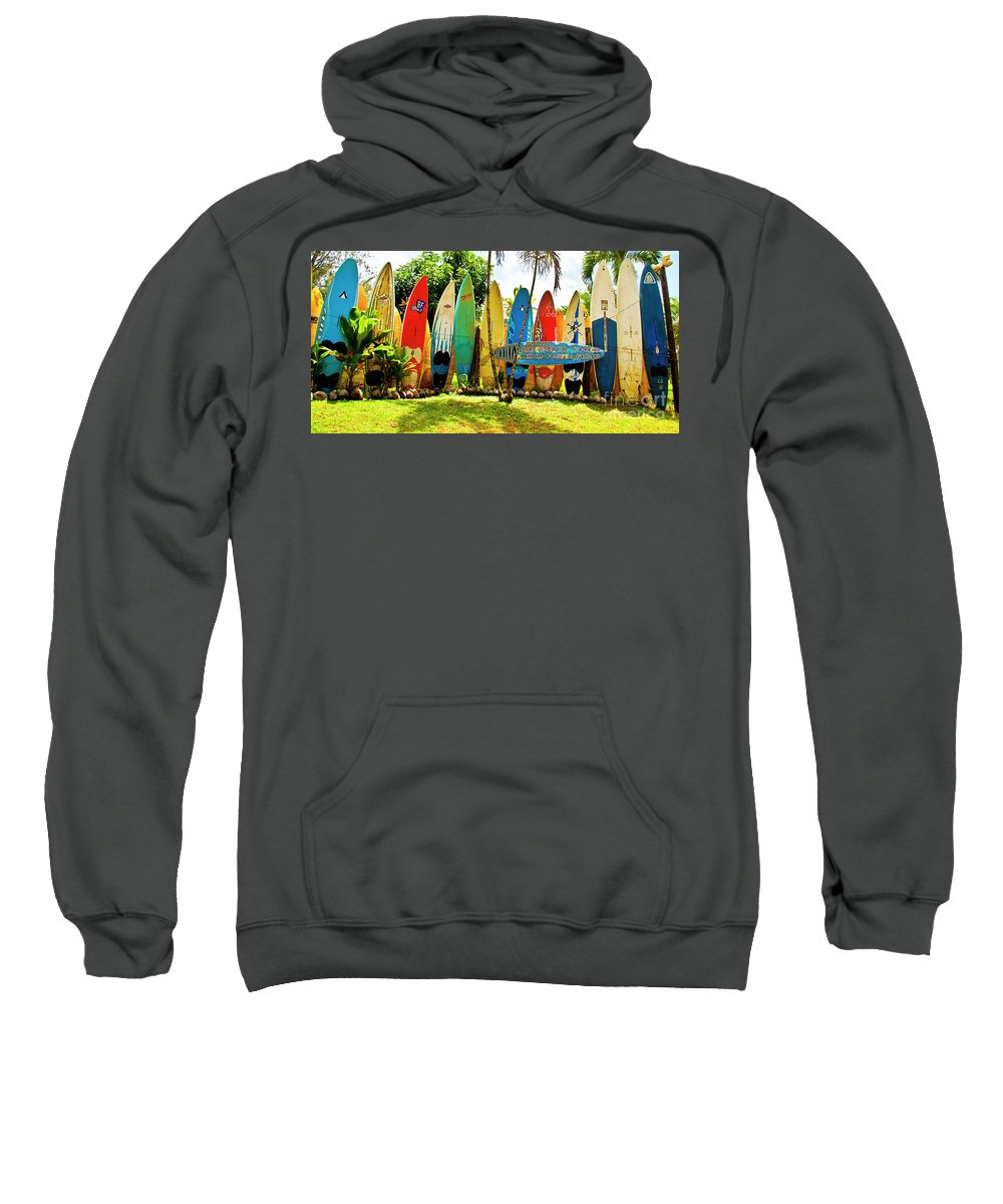 Surfboard Sweatshirt featuring the photograph Surfboard Fence II-the Amazing Race by Jim Cazel