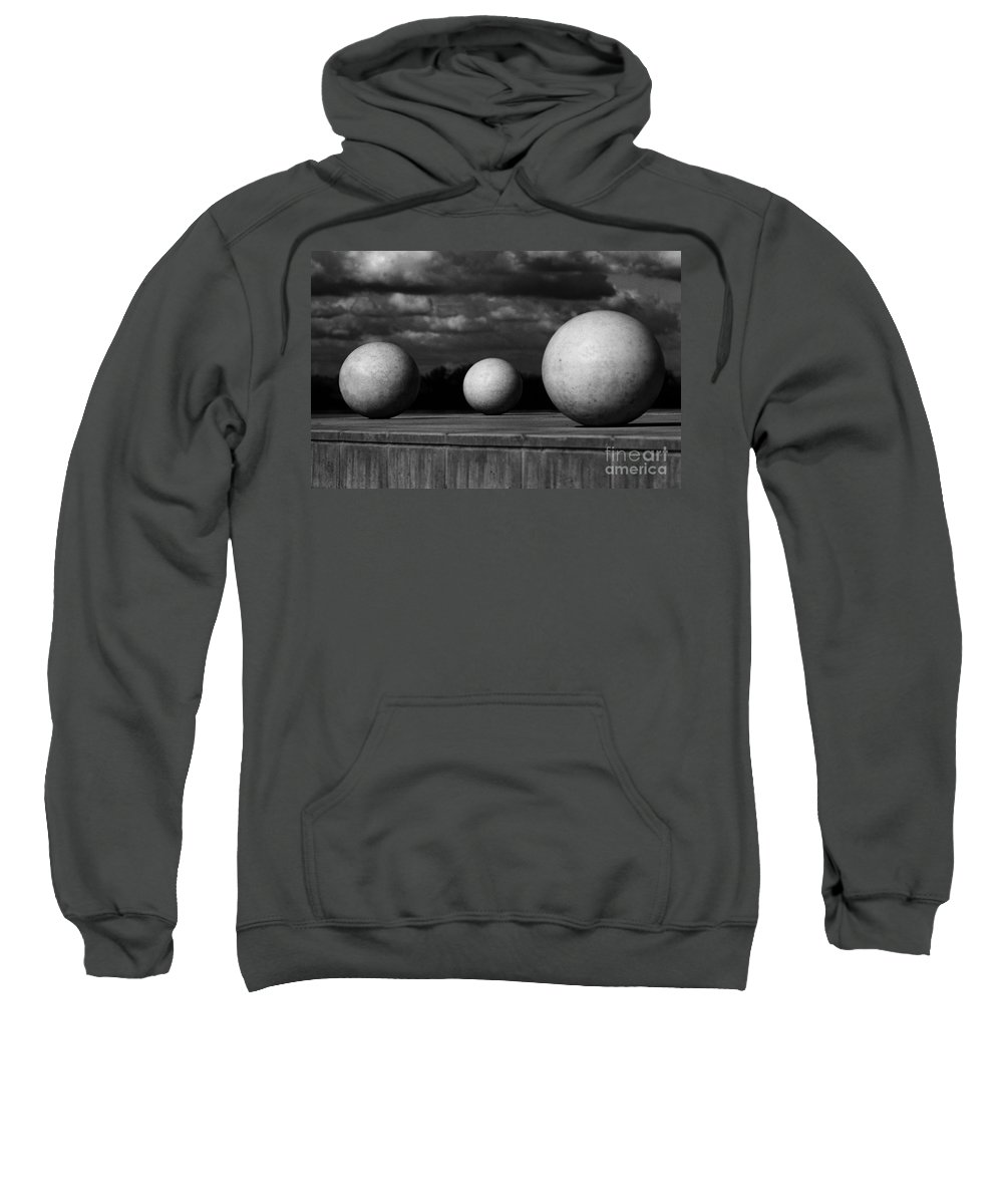 Black And White Sweatshirt featuring the photograph Surreal Globes by Peter Piatt