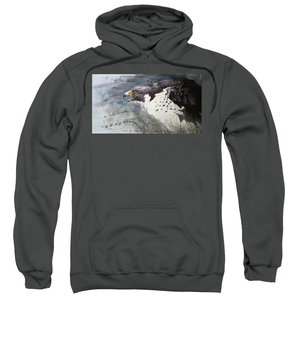 Art Sweatshirt featuring the mixed media Survivor by Eric Dull