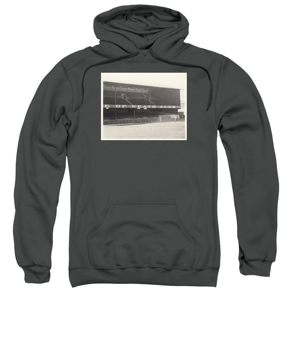 Sweatshirt featuring the photograph Swansea - Vetch Field - West Terrace 1 - Bw - 1960s by Legendary Football Grounds