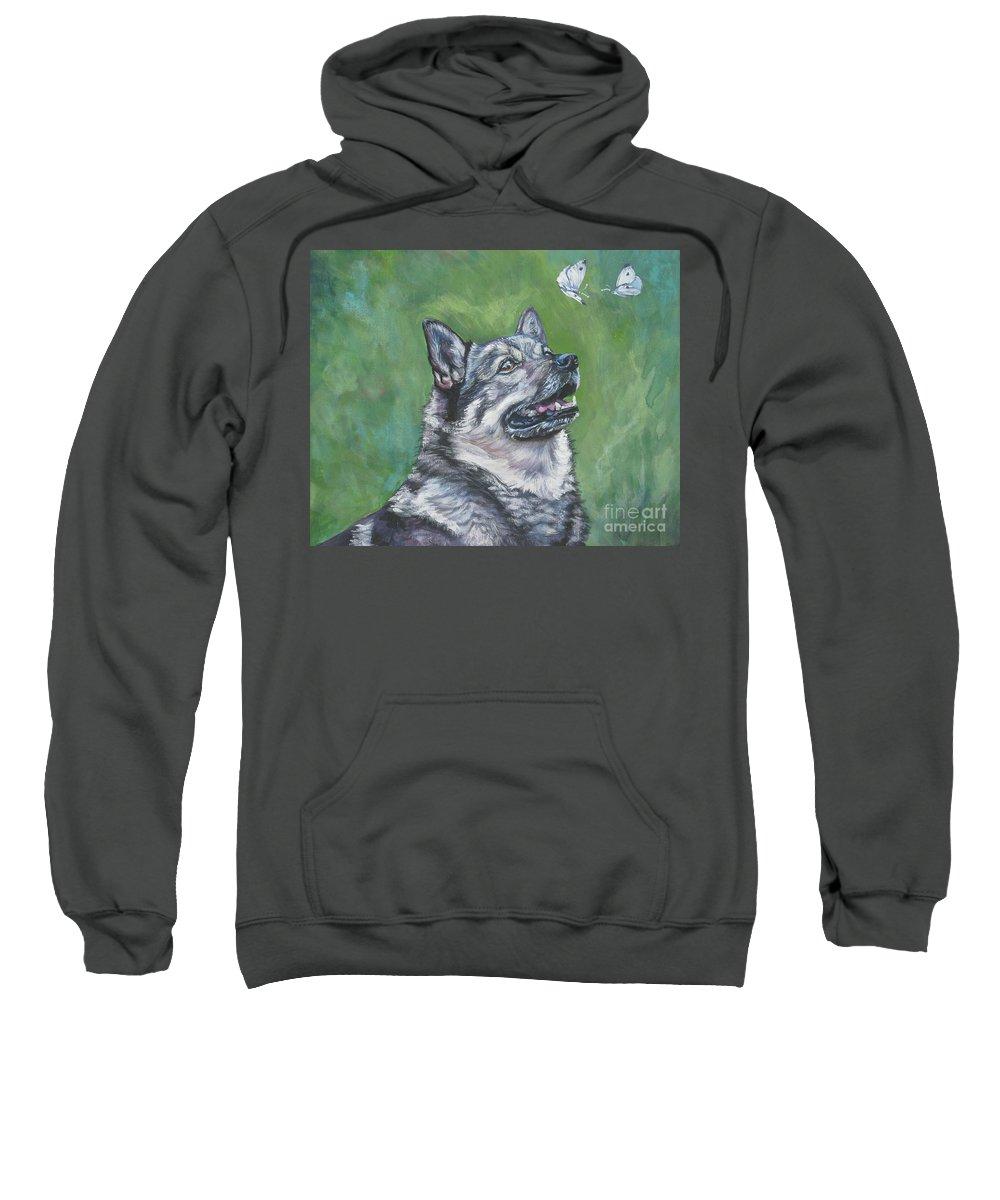 Swedish Vallhund Sweatshirt featuring the painting Swedish Vallhund by Lee Ann Shepard