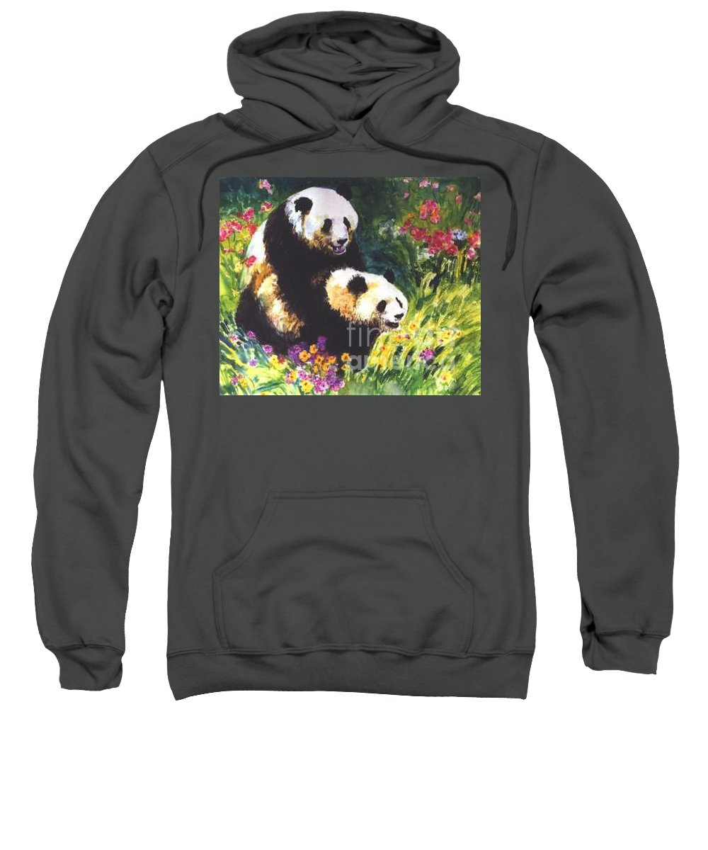Panda Sweatshirt featuring the painting Sweet As Honey by Guanyu Shi