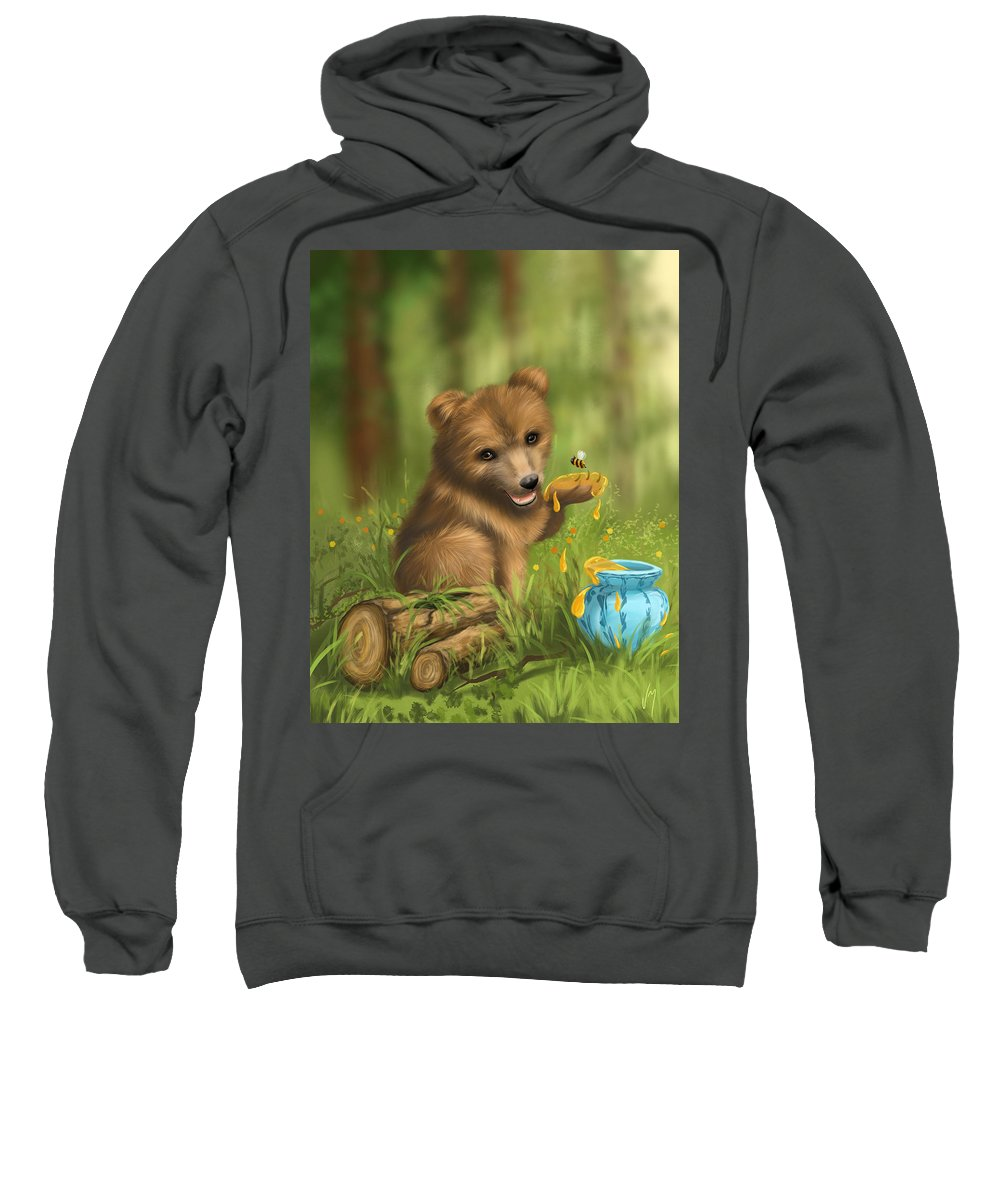Bear Sweatshirt featuring the painting Sweet As Honey by Veronica Minozzi
