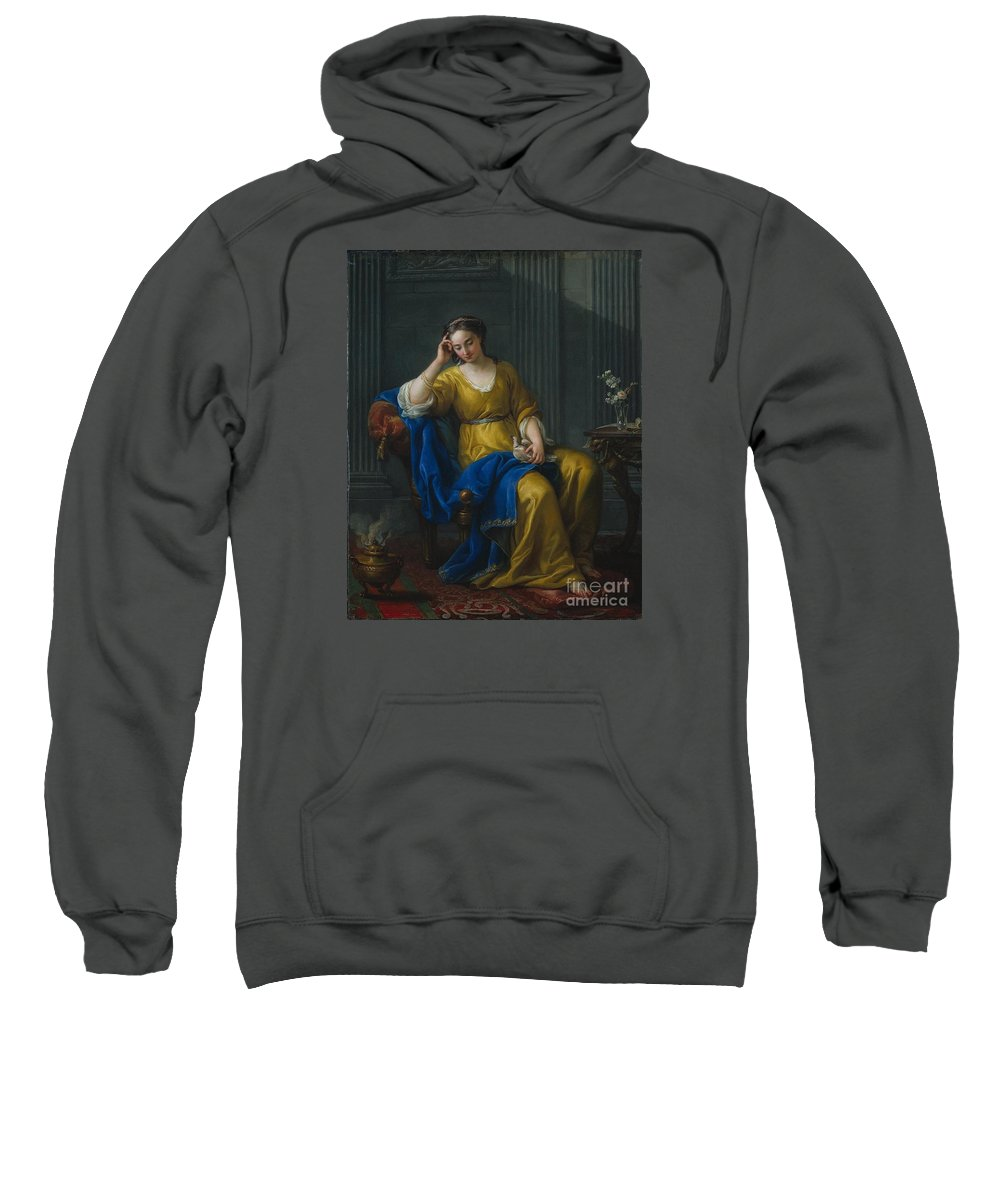 Sweet Melancholy Joseph-marie Vien 1756 Sweatshirt featuring the painting Sweet Melancholy by MotionAge Designs