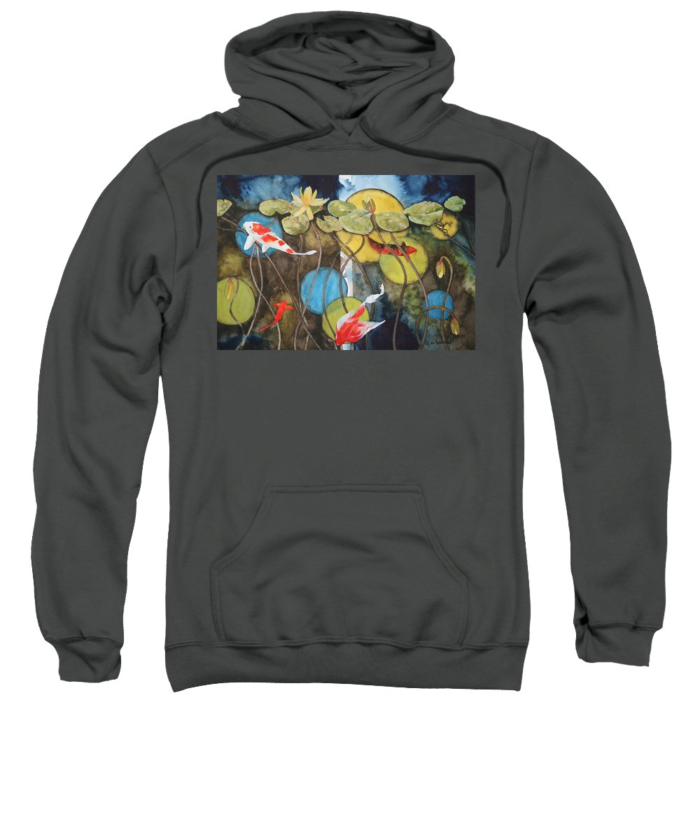 Abstract Sweatshirt featuring the painting Swimming In Circles by Jean Blackmer