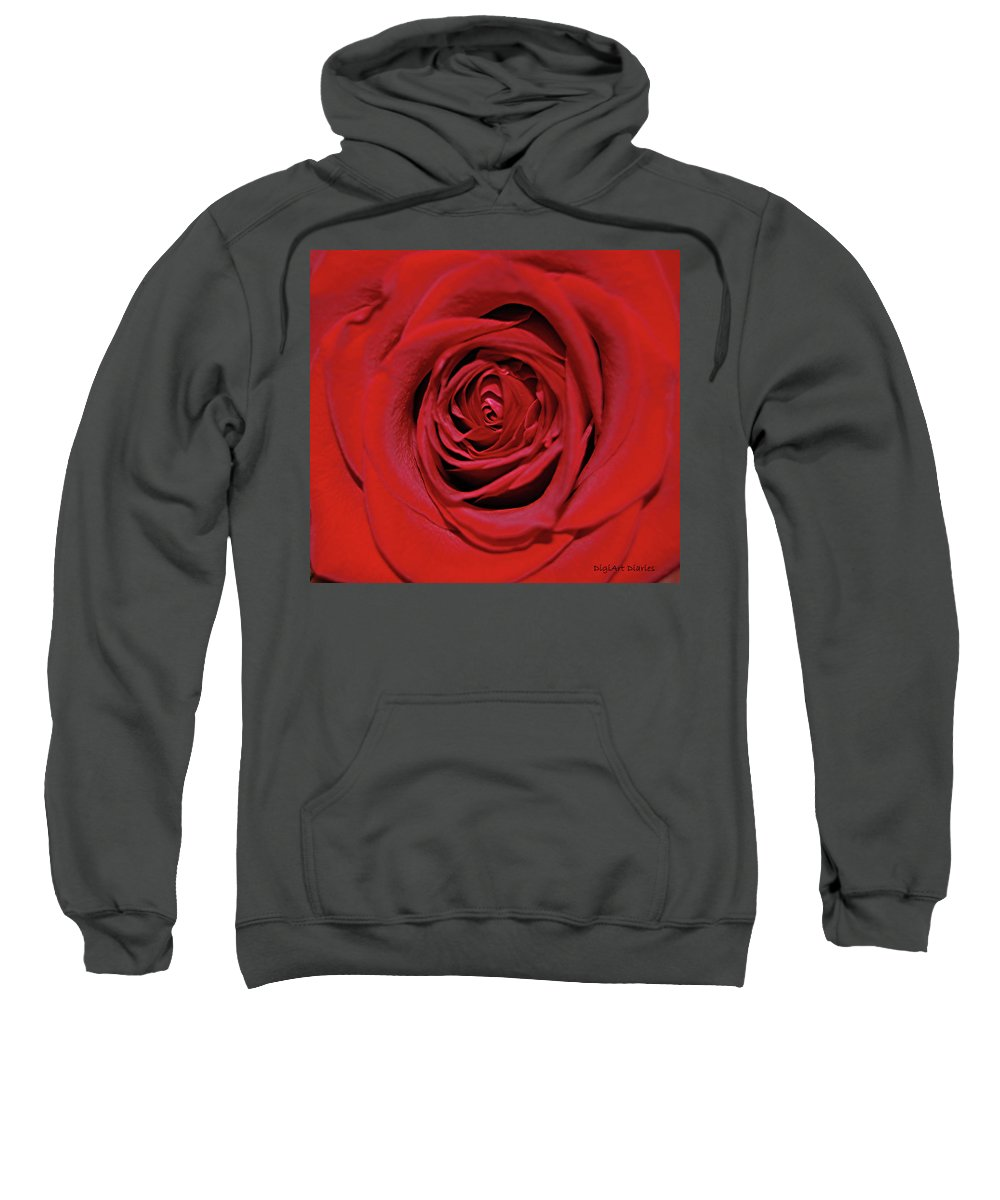 Rose Sweatshirt featuring the digital art Swirling Red Silk by DigiArt Diaries by Vicky B Fuller