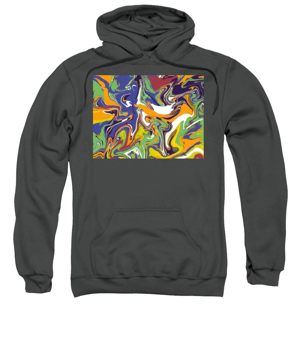 Swirls Sweatshirt featuring the painting Swirls Drip Art by Jill Christensen