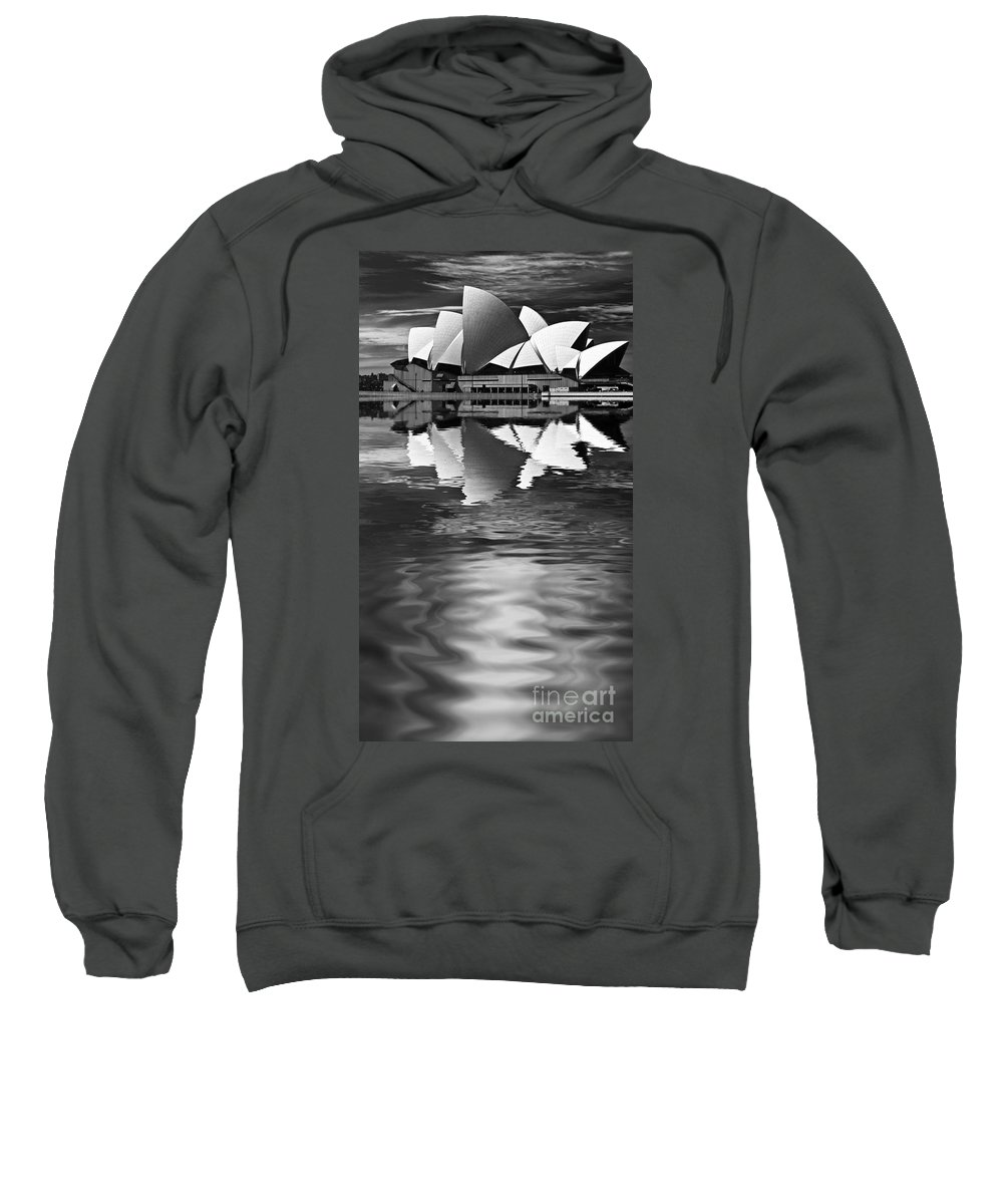 Sydney Opera House Monochrome Black And White Sweatshirt featuring the photograph Sydney Opera House Reflection In Monochrome by Sheila Smart Fine Art Photography