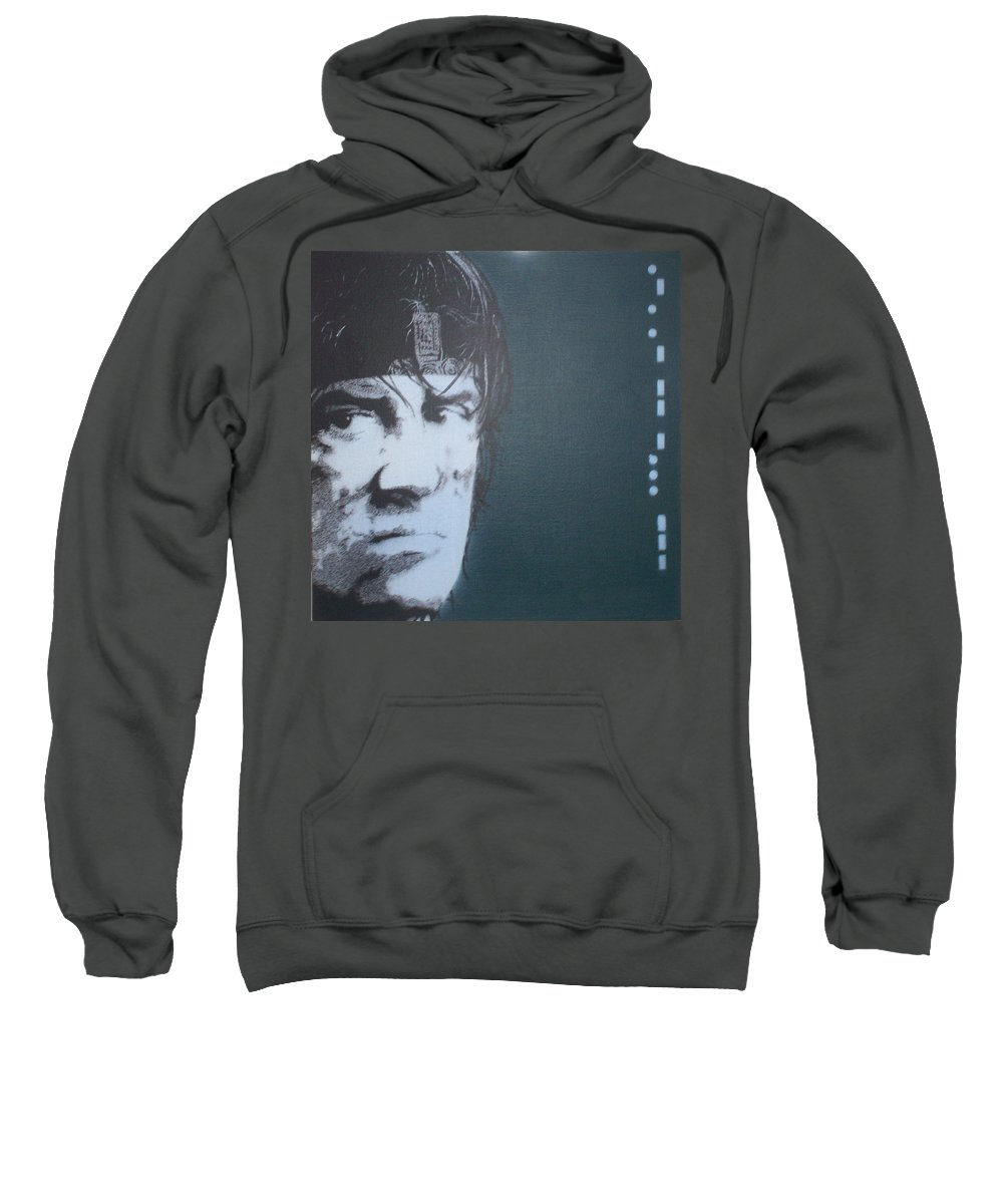 Sylvester Stallone Sweatshirt featuring the painting Sylvester Stallone by Gary Hogben