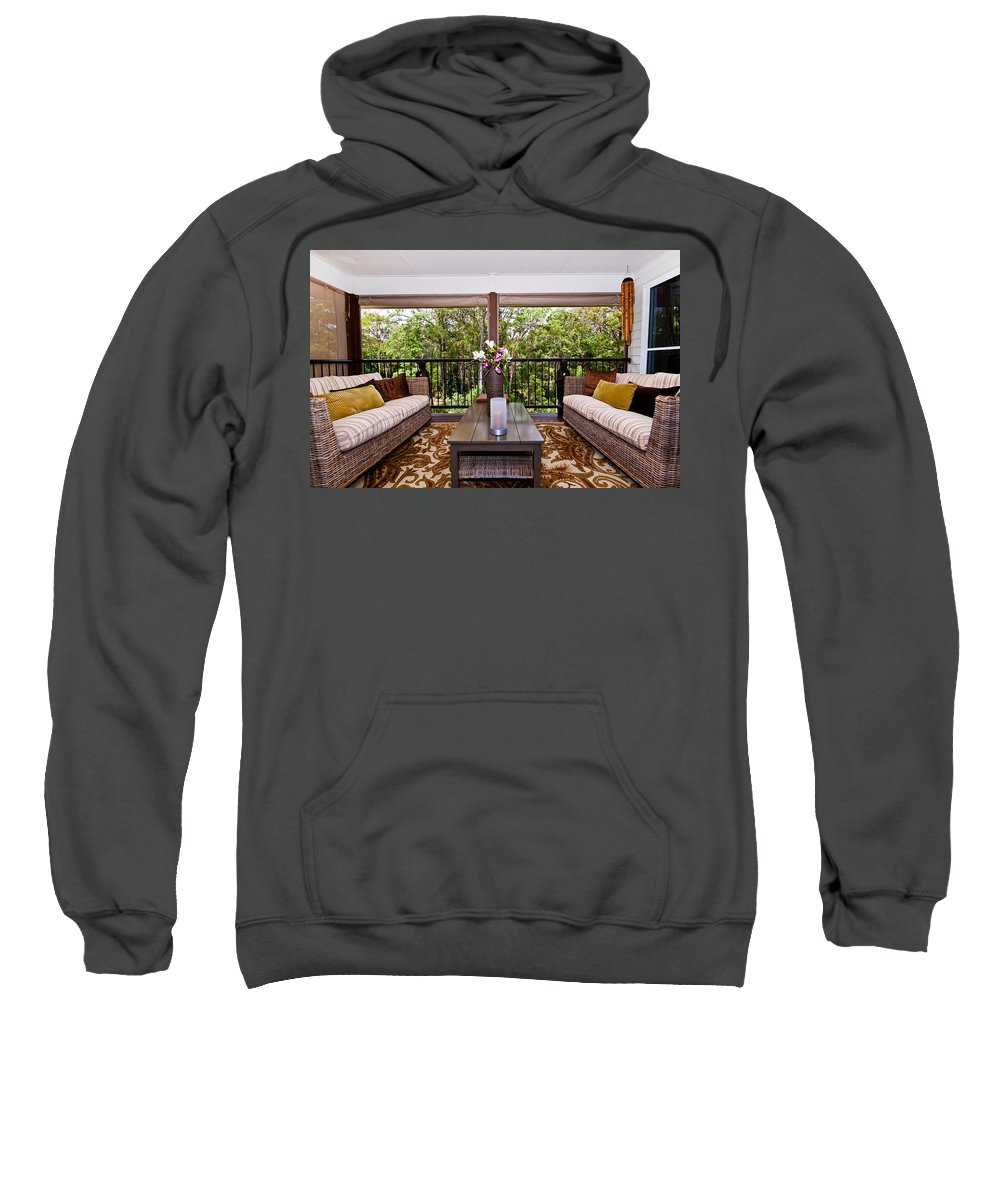 Symmetrical Sweatshirt featuring the photograph Symmetrical Balcony by Darren Burton