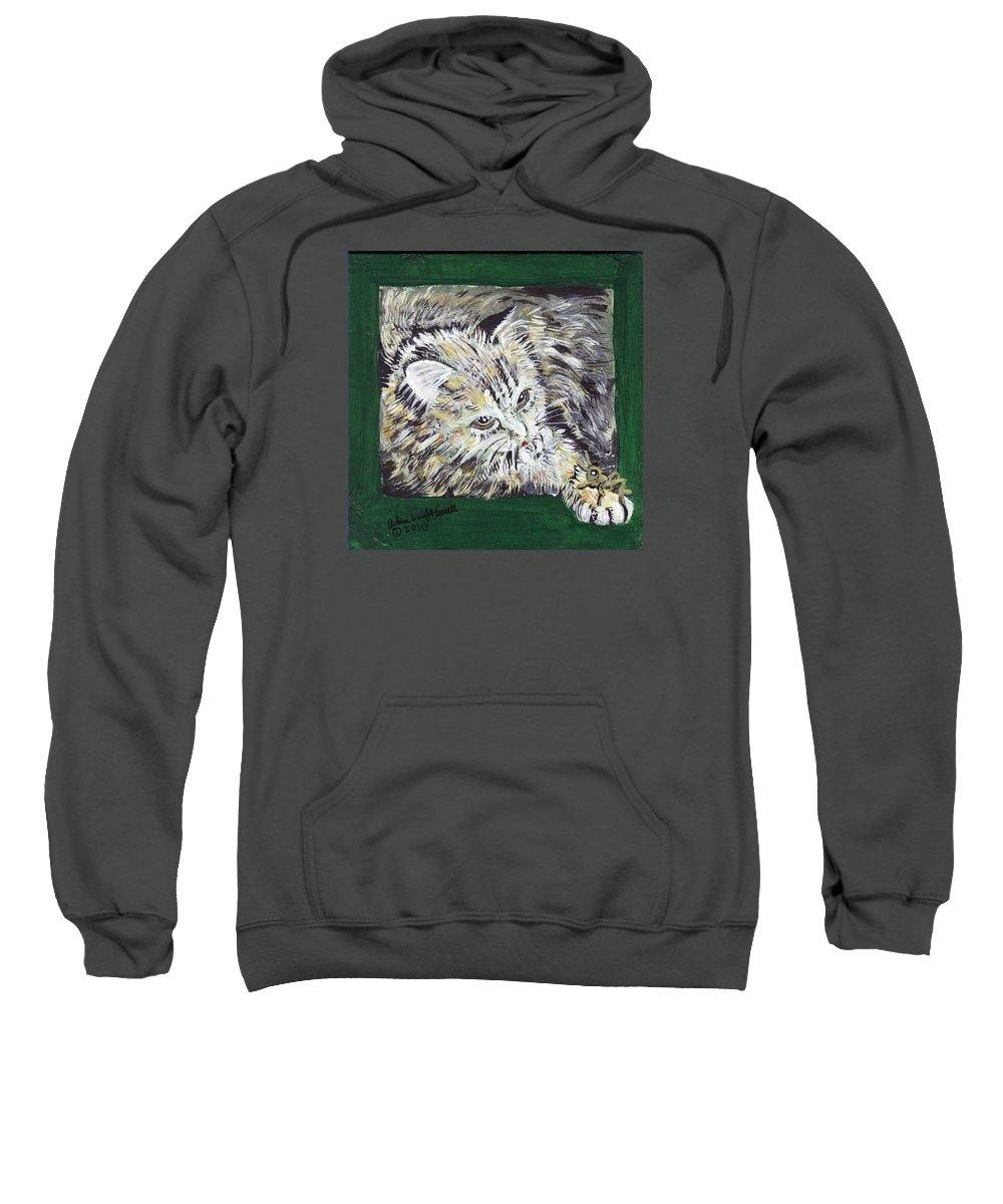 Cat Sweatshirt featuring the mixed media Tabby Cat With Cricket Trinket Box by Arlene Wright-Correll