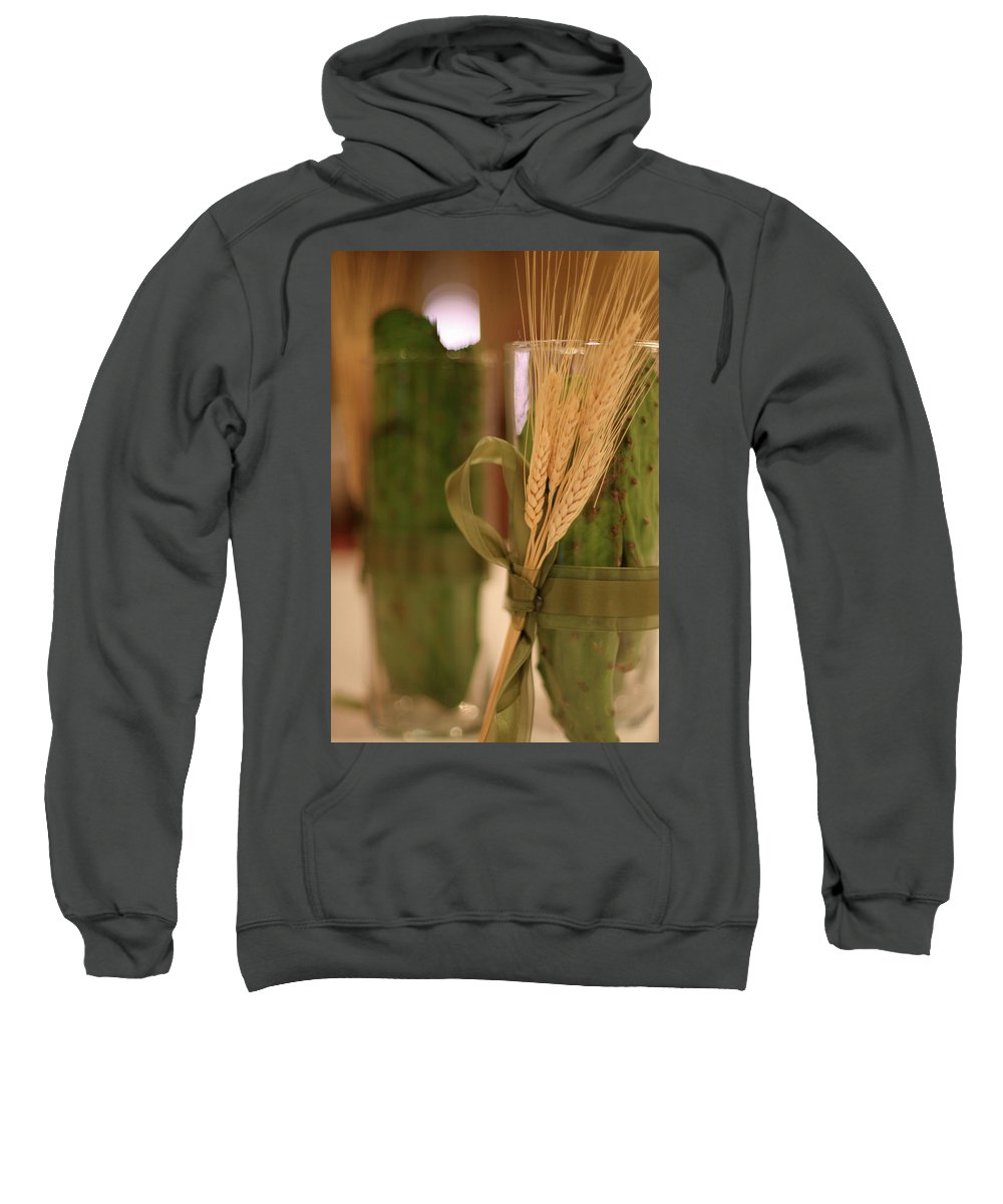Table Decorations Cactus Wheat Sweatshirt featuring the photograph Table Decour by Angie Covey