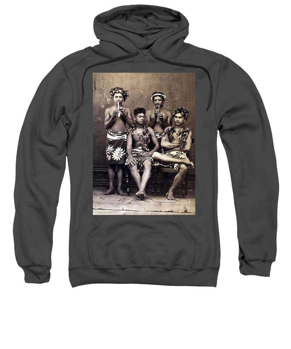 1890 Sweatshirt featuring the photograph Tahiti: Men, C1890 by Granger