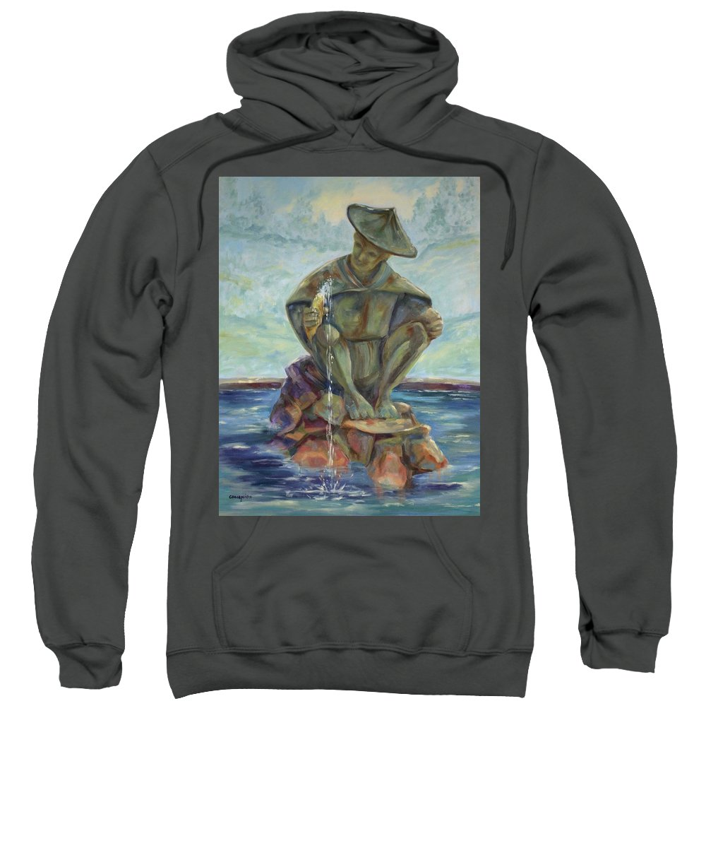 Landscape Sweatshirt featuring the painting Taipei Fountain by Ginger Concepcion
