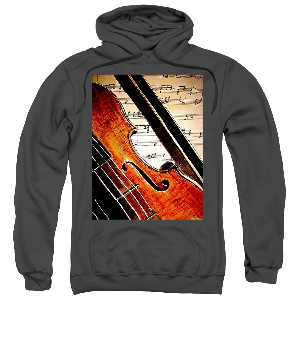 Violin Painting Sweatshirt featuring the painting Take Note by Carol Blackhurst