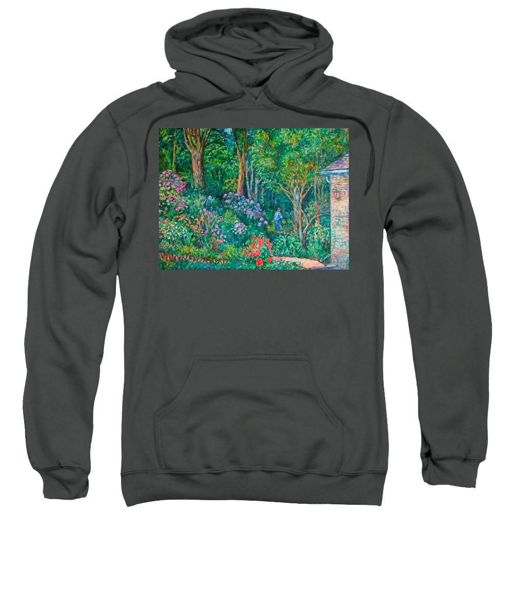 Suburban Paintings Sweatshirt featuring the painting Taking A Break by Kendall Kessler