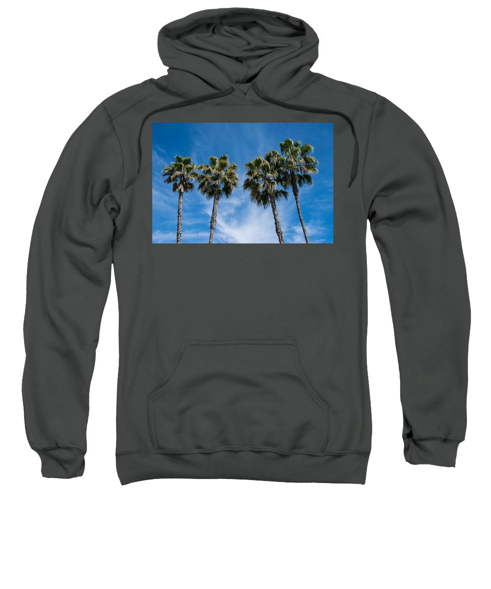 Trees. Palm Trees Sweatshirt featuring the photograph Tall Palms Couples by Robert VanDerWal
