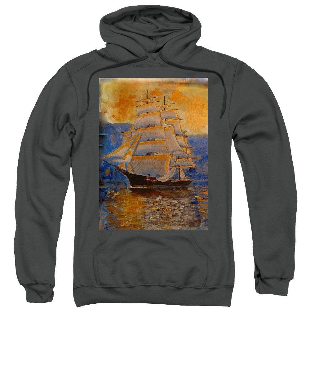 Tall Ship Sweatshirt featuring the painting Tall Ship In The Sunset by Richard Le Page