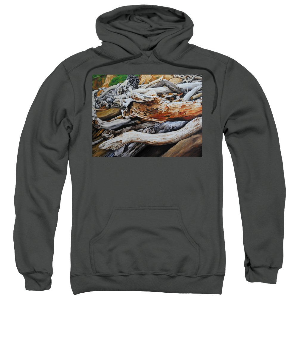 Timbers Sweatshirt featuring the painting Tangled Timbers by Chris Steinken
