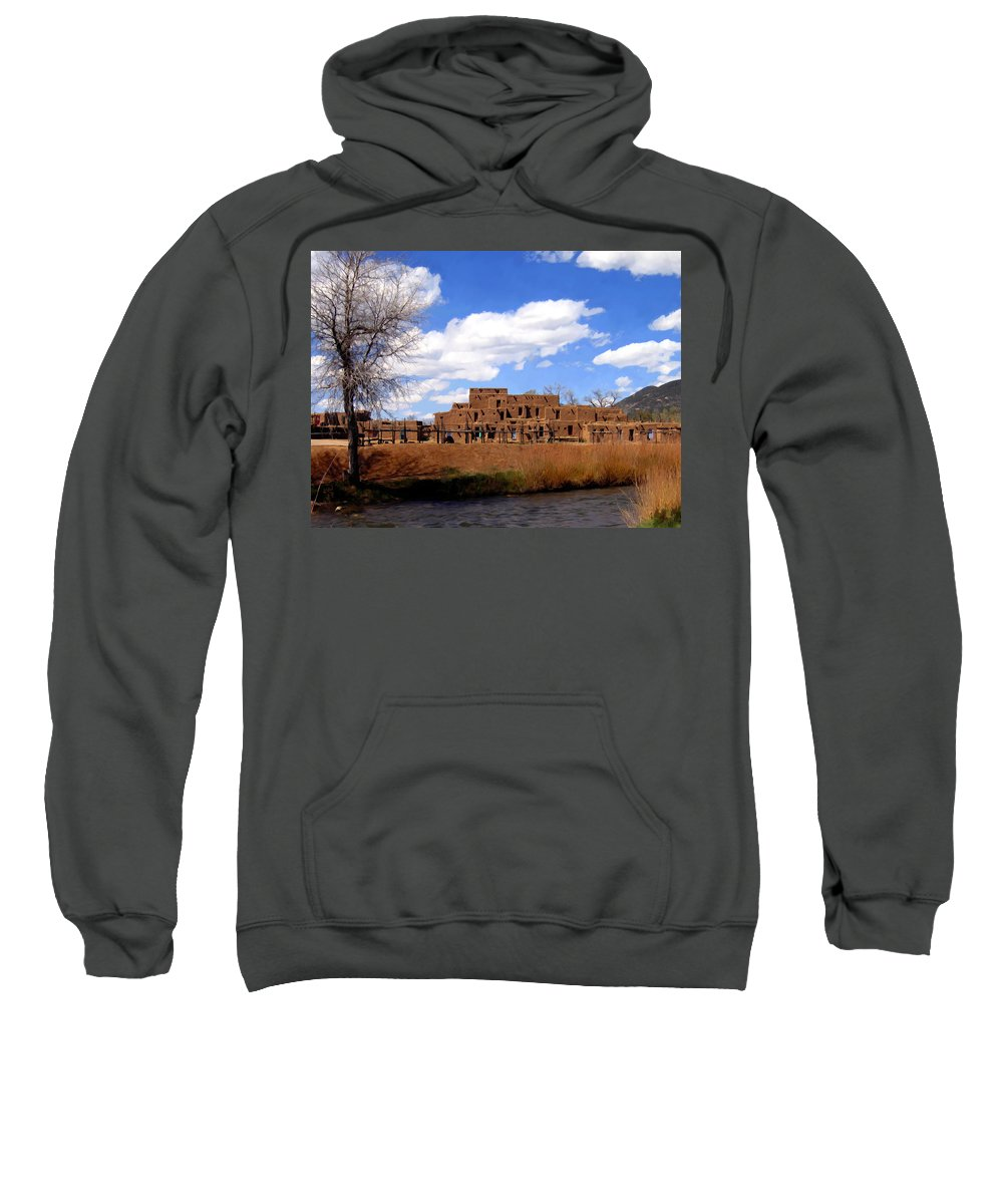 Taos Sweatshirt featuring the photograph Taos Pueblo Early Spring by Kurt Van Wagner