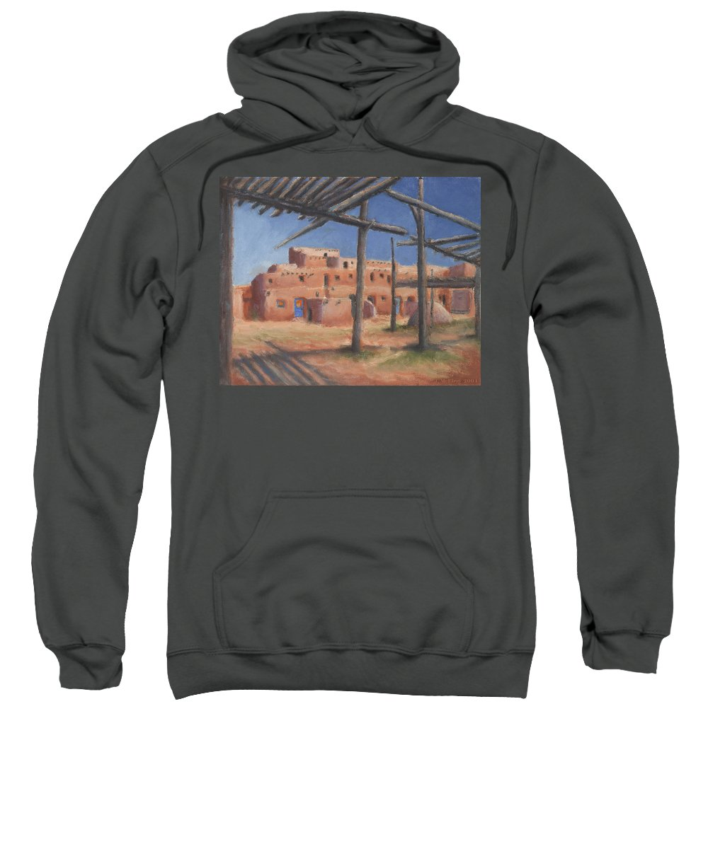 Taos Sweatshirt featuring the painting Taos Pueblo by Jerry McElroy