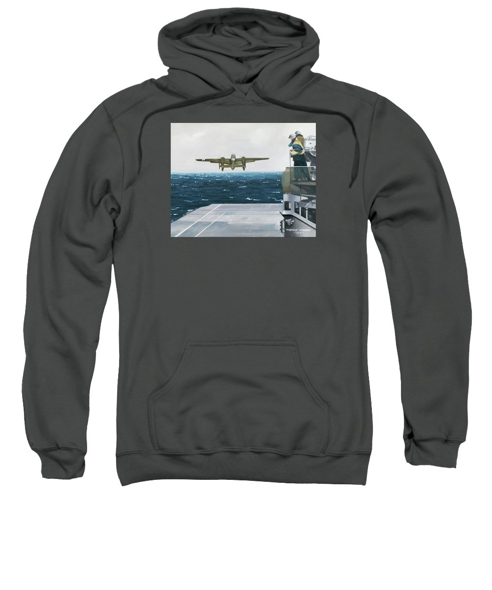 Aviation Sweatshirt featuring the painting Target Tokyo by Marc Stewart
