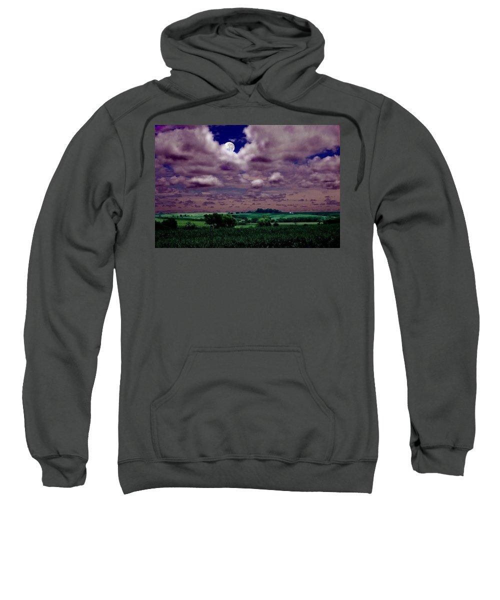 Landscape Sweatshirt featuring the photograph Tarkio Moon by Steve Karol