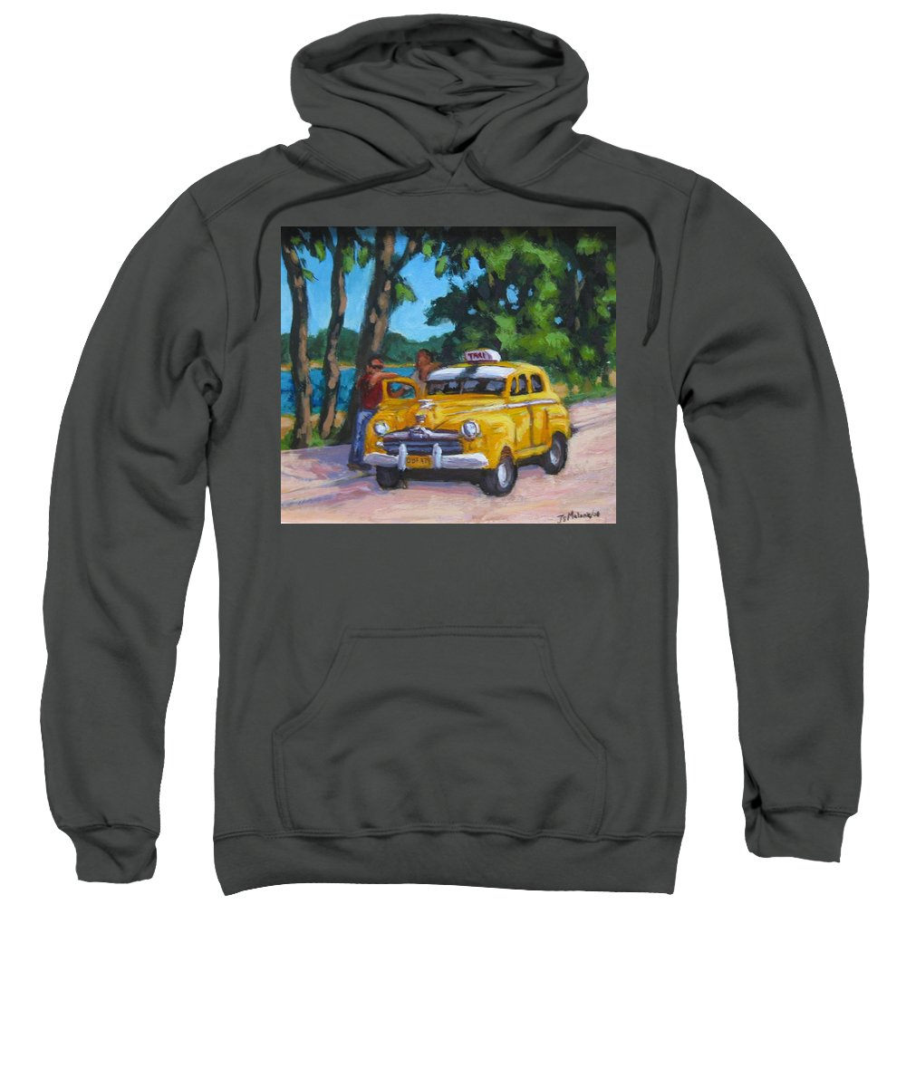 Old Cars Sweatshirt featuring the painting Taxi Y Amigos by John Malone