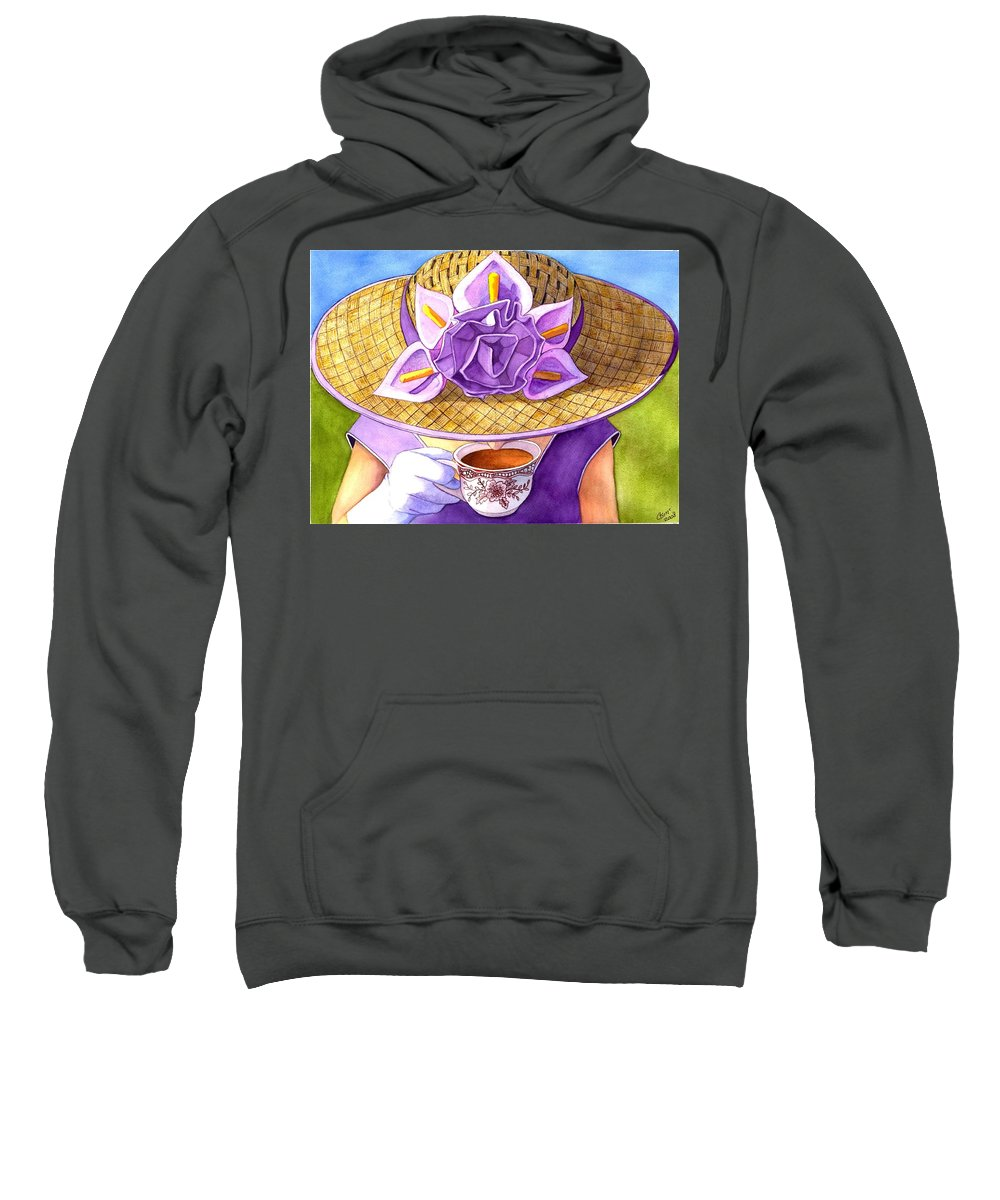Tea Sweatshirt featuring the painting Tea Party by Catherine G McElroy