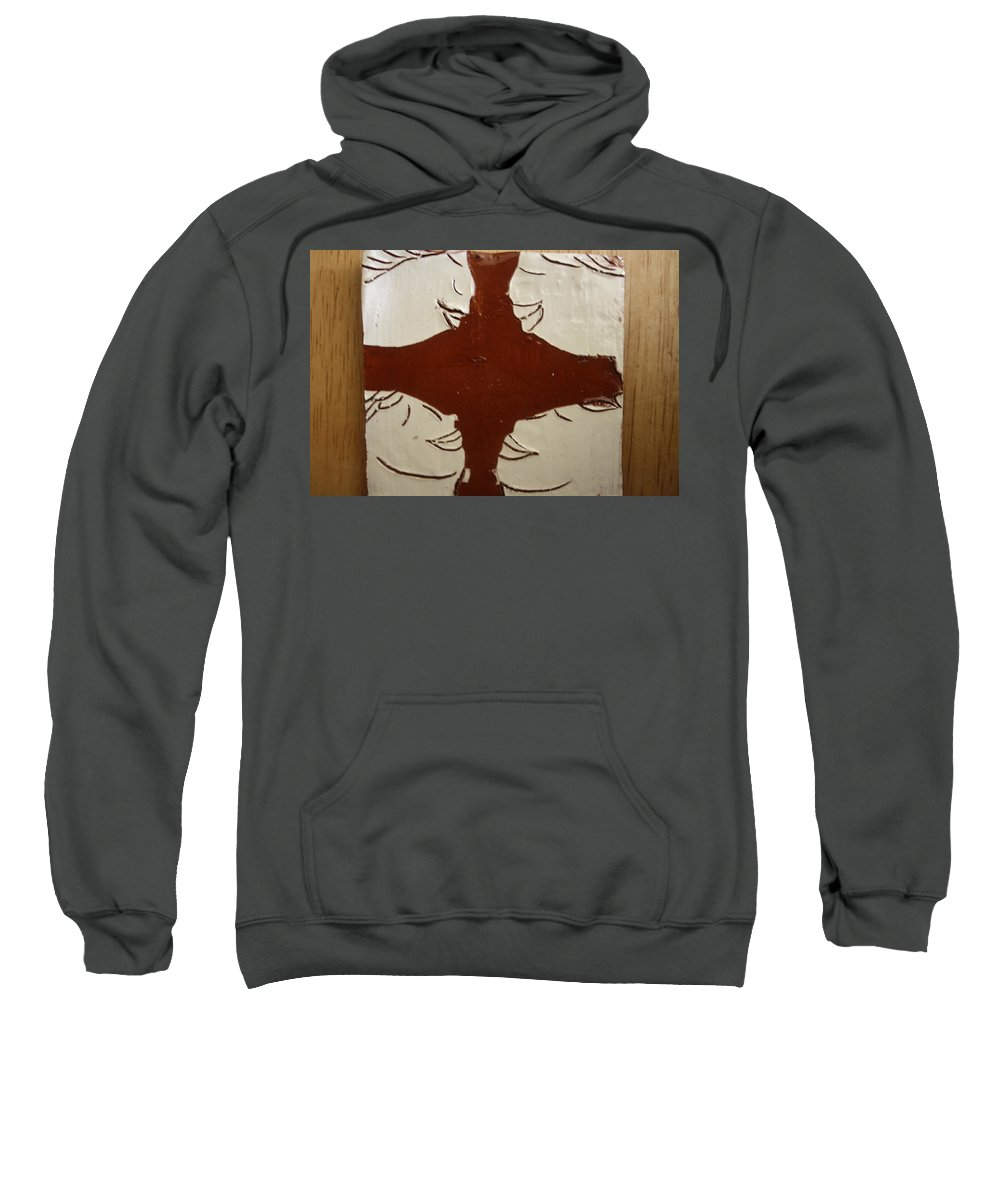 Jesus Sweatshirt featuring the ceramic art Tea Time - Tile by Gloria Ssali