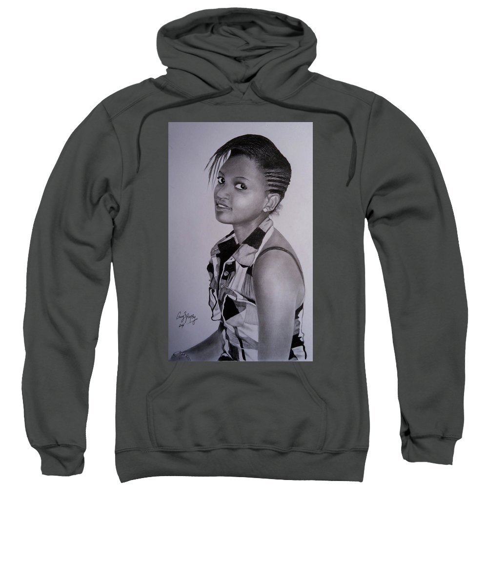 Pencil Drawing Sweatshirt featuring the drawing Teenage Beauty by Guy B Rapsy